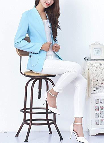 Manica Bavero Da Tasche Cappotto Lunga Donna Offlce Ovest Button Tailleur Anteriori Colori Moda Autunno Blau Giovane Giacca Softshell Solidi RWP6I