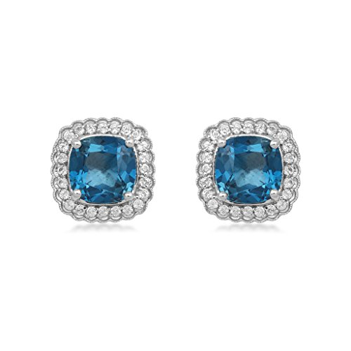Jewelili Sterling Silver 8mm Cushion Swiss Blue Topaz and Round White Topaz Halo Stud (Blue Topaz Cushion Earrings)