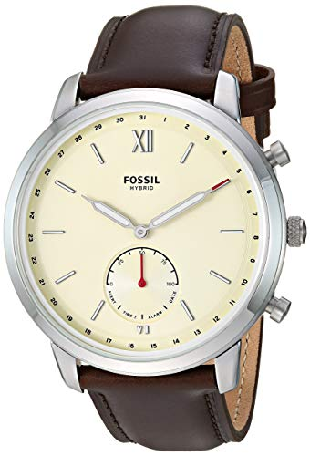 Fossil Men's Hybrid Smartwatch Stainless Steel Watch with Leather Strap, Brown, 21.1 (Model: FTW1177)