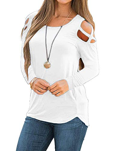 MISSLOOK Women's Cold Shoulder Tops Long Sleeve Shirts Crew Neck Casual T-Shirts Tunic - White XL