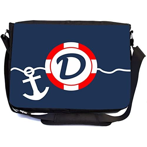 """Rikki Knight Letter """"D"""" SOS Red White on Blue Anchor Design Multifunctional Messenger Bag - School Bag - Laptop Bag - with padded insert for School or Work - Includes Matching Compact Mirror"""