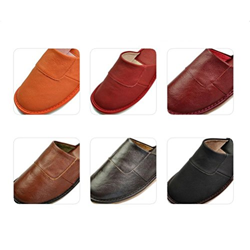 for NEAER Indoor Shoes Home Women Women Red Toe Closed Flats Slippers House Men Slippers Deep Outdoor Leather xq4fIqw1