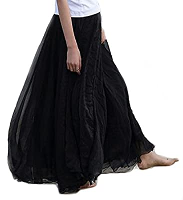 Hotgirldress Women Retro Vintage Double Layer Chiffon Pleat Maxi Long Skirt Dress