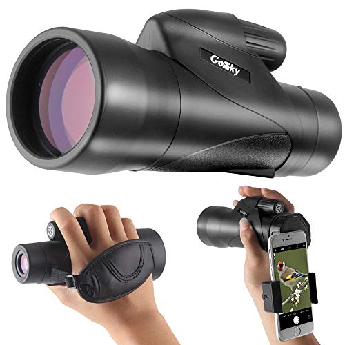 Gosky 12x50 ED Glass Monocular- Ultra HD Multi-Coated Waterproof Monocular Telescope-BAK4 Prism for Wildlife Bird Watching Hunting Camping Travelling Wildlife ()