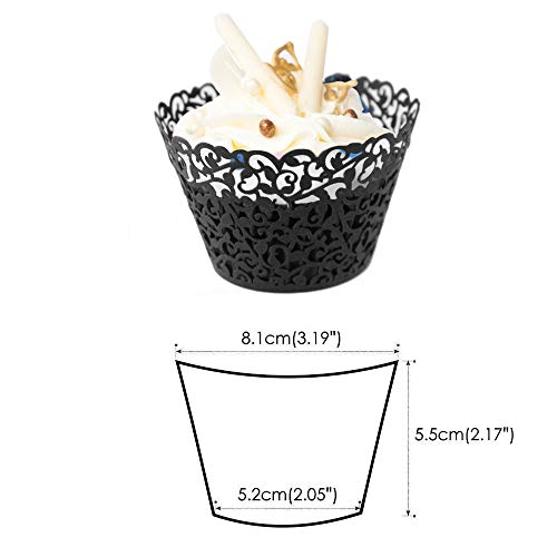 GOLF 100Pcs Cupcake Wrappers | Artistic Bake Cake Paper Filigree Little Vine Lace Laser Cut Liner Baking Cup Wraps Muffin CaseTrays for Wedding Party Birthday Decoration (Black) by GOLF (Image #1)