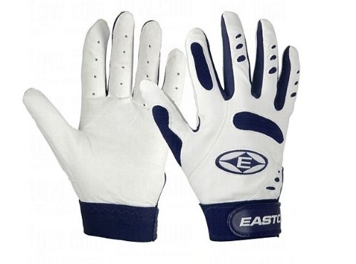(Easton Typhoon Batting Gloves - Youth - White/Navy)