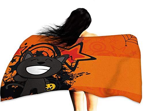 WinfreyDecor Soft Bath Towel Happy Black cat Cartoon Halloween Background 10