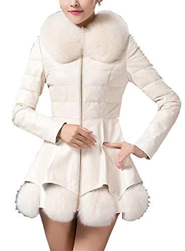 Manga Blanco Invierno Con Vintage Outerwear Otoño Piel Mujer Sintético Battercake Cuero Fit De Chaqueta Espesor Parkas Cuello Mujeres Larga Termica Slim Casuales BqtFw71