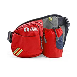 Multipurpose Waist Bag for Men and Women, Sports Travel Hip Bag with Water Bottle Holder and Cell Phone Pocket-Red