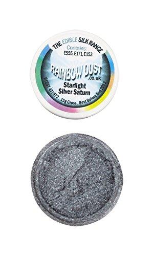 Rainbow Dust Edible Silk Essbarer Glitzerpuder , Farben:Starlight Silver Saturn