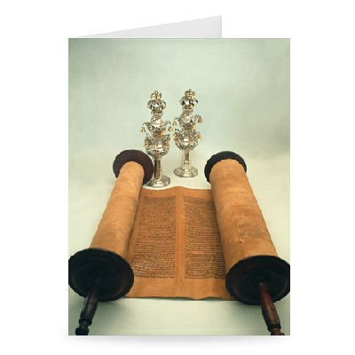 Torah scroll with Silver Crown finials.. - Greeting Card (Pack of 2) - 7x5 inch - Art247 - Standard Size - Pack Of 2
