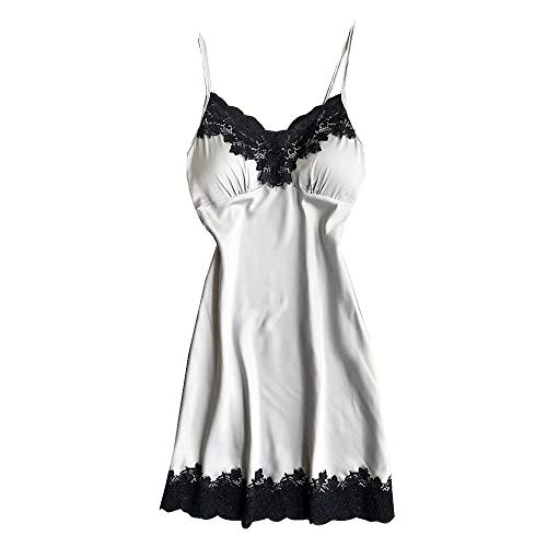Lelili Women Sexy Lingerie Nightdress Floral Lace Spaghetti Straps Underwear Lingerie with Chest Pads Silver -