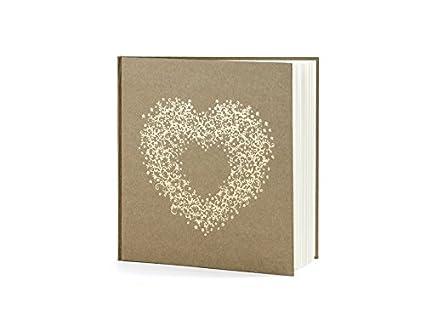 Libro de visitas Vintage en Color Marrón Con Corazón Dorado para ...