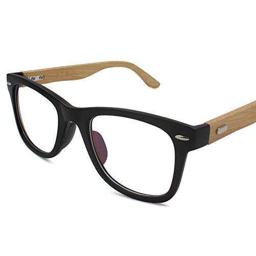 Korean Glasses Frame With Clear Lens, Retro Eyewear Frames Bamboo Spectacle Eyeglasses Frame For Women Men(Matte - Korean Frame Glasses