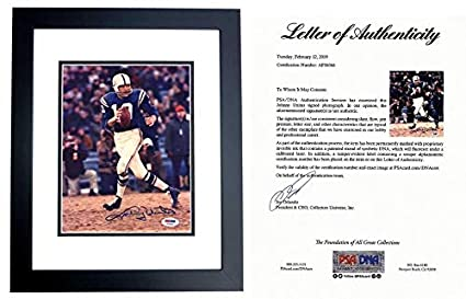 97fb195ce45 Johnny Unitas Autographed Picture - 8x10 inch BLACK CUSTOM FRAME Deceased  2002 FULL Letter of Authenticity