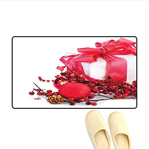 (Bath Mat New Year Box with Berries Pine Cone and Baubles End of The Year Party Theme Door Mat Indoors Bathroom Mats Non Slip Red Gold White 32
