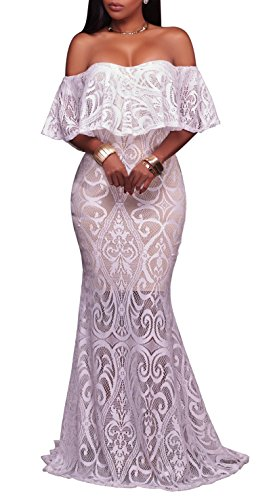 YiYaYo Womens Sexy Lace Ruffle Off Shoulder Bodycon Wedding Evening Cocktail Party Maxi Long Dress White 2XL (Wedding Simple Receptions)