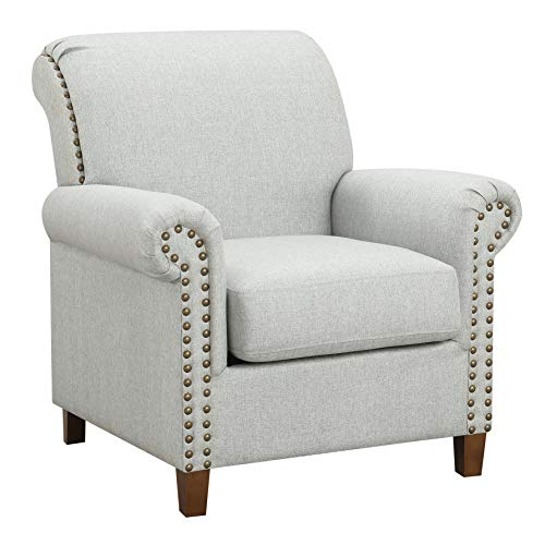 Ravenna Home Rolled Arm and Nailhead Trim Accent Chair, 35 W, Light Grey