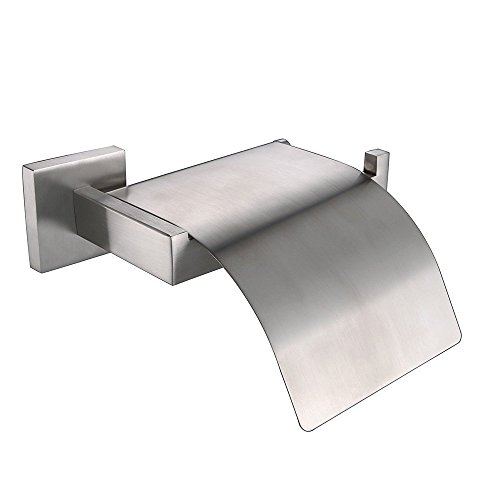 Leyden Bathroom Lavatory Stainless Steel Toilet Tissue Ring Tissue Holder Tissue Rack Tissue Stand Tissue Organizer with Cover Flap, Brushed Nickel (Toilet Tissue Stainless Steel)