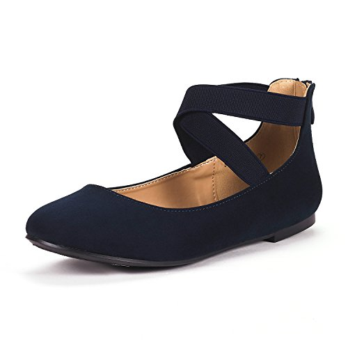DREAM PAIRS Women's Sole_Stretchy Navy Fashion Elastic Ankle Straps Flats Shoes Size 8.5 M (Navy Blue Strap)