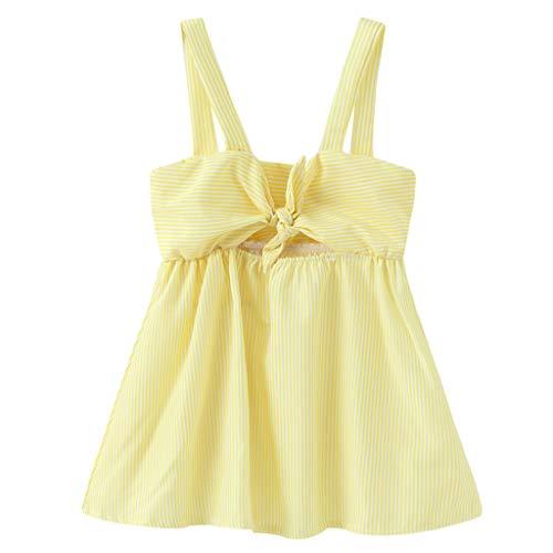 ✔ Hypothesis_X ☎ Baby Girl Dress Toddler Kid Stripe Bow Condole Dress Belt Skirt Princess Dresses Casual Soft Fashion Skirt Yellow ()