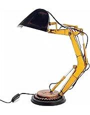 Crazyfly Vintage bordslampor, kreativ järn grävmaskin modell lampa skrivbord prydnad hållbar LED nattduksbord lampa mjuk nattlampa för sängbord sovrum dekoration