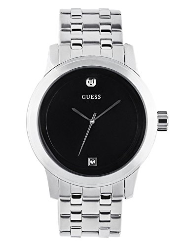 GUESS Men's Black and Silver-Tone Diamond Dress Watch