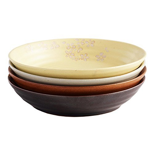 Fuji Floral Blossom Dinner Plates - Zen-Inspired Asian Hand-Crafted Design | Microwave Safe | Use for Kitchen Prep, Salad Plate, Barware, Candy Dishes, Spice Dishes & Appetizer, Stackable, Set of 4