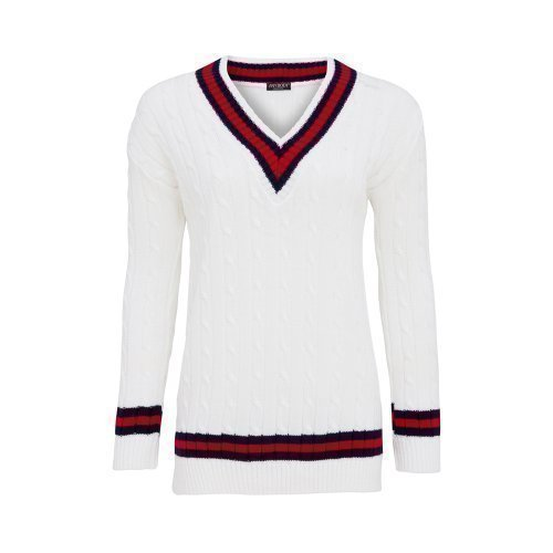 Anybody Collection - Pull Femme Style Cricket Col V Motif Rayure Neuf Taille 36-42 Blanc