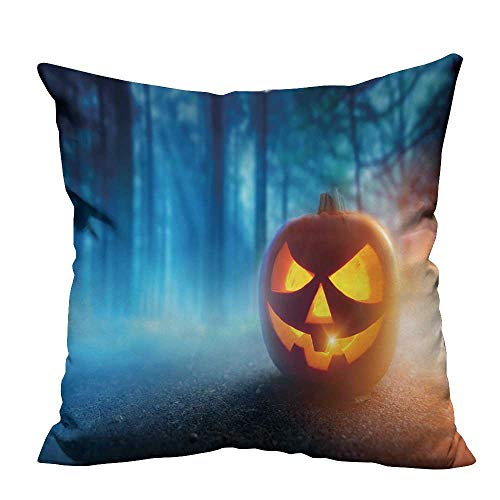 Decorative Couch Pillow Cases A Glowing Jack O Lantern in a Dark Mist Forest on Halloween. Easy to Wash 27.5x27.5 inch(Double-Sided Printing)