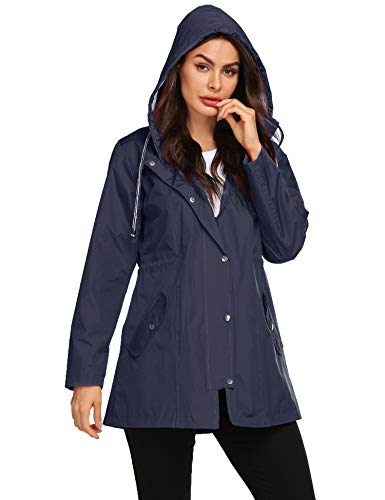 Trip Jacket Windproof Hooded Lined Relaxed Slim Fit Stylish Trendy Coats Camping Women Travel Rain Jacket Navy Blue L