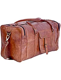 21 Inch Vintage Leather Duffel Travel Gym Sports Overnight Weekend Duffle Bags for Men and Women