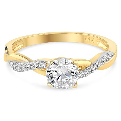 (Ioka - 14K Solid Yellow Gold Round Cut CZ Wedding Engagement Ring)