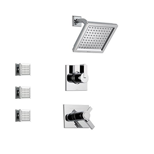 Delta Vero Chrome Shower System with Thermostatic Shower Handle, 3-setting Diverter, Modern Square Showerhead, and 3 Square Body Sprays SS17T5382 Delta Faucets