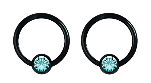 Forbidden Body Jewelry Pair 16g 10mm Black Surgical Steel Aqua CZ Gemmed Captive Bead Body Piercing Hoops, 4mm Balls