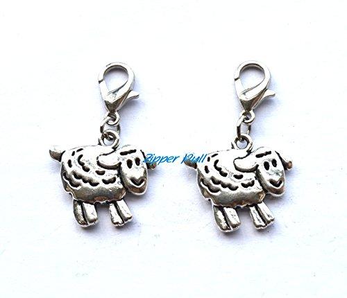 sheep charm, lamb bracelet charm,sheep zipper pull, farm animal charm on lobster clasp,sheep Handmade Zipper Pull,Charm, Planner Charm