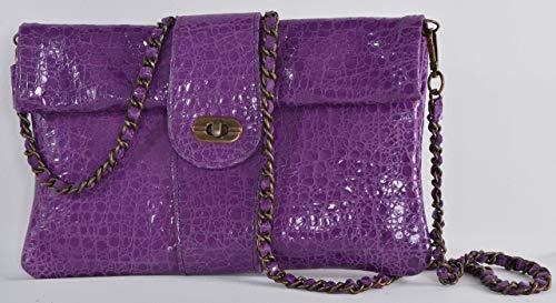handmade Genuine Python printed Leather Purple Classic Foldover Clutch Bag