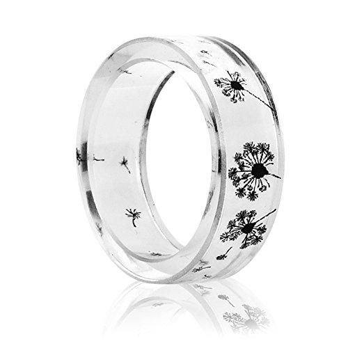 - New Arrival Handmade Dandelion Flower Transparent Resin Women/Men's Charm Ring (19mm/US#9)