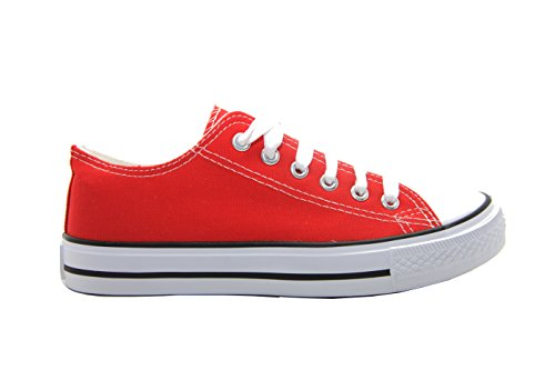 Unisex flach All Star Spitzen bis Plimsolls Pumpen Trainer Sommer Leinwand Schuhe, rot - Red Pu - Größe: 36 EU
