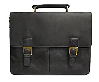 Visconti Visconti Berlin Leather Twin Buckle Briefcase With Detachable Strap, Blue, One Size