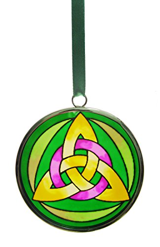 Stained Glass Trinity Knot - Royal Tara Stained Glass Trinity Knot Hanging Decoration, 6cm Diameter, with Green Ribbon