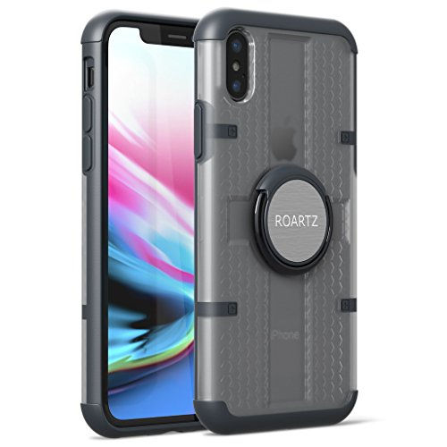 iPhone X Case, ROARTZ Gray Hybrid Full-Body Rugged Slim-Fit Ultra-Thin Scratch-Resistant Rotating Ring Holder Kick-Stand Magnetic Car Mount Shock Absorption Non-Slip for Apple iPhone X 10 - Kickstand Mount