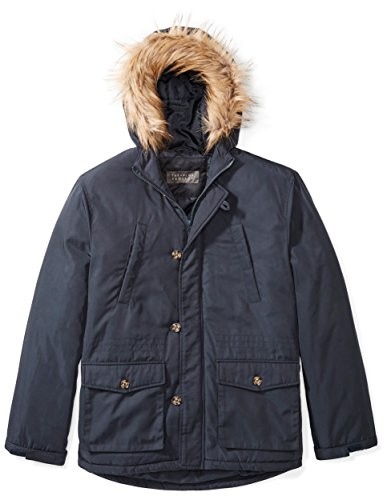 Big Hood - The Plus Project Men's Plus Size Winter Coat with Hood and Removable Faux Fur Trim 4X-Large Navy