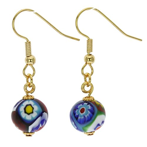 - GlassOfVenice Murano Glass Mosaic Millefiori Ball Earrings - Gold