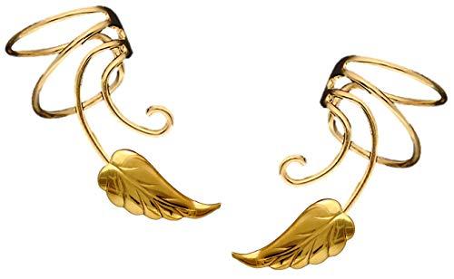 (Ear Charms Southwest Leaf Wave Ear Cuff Non-pierced Pair Wrap Earring Gold On Sterling)