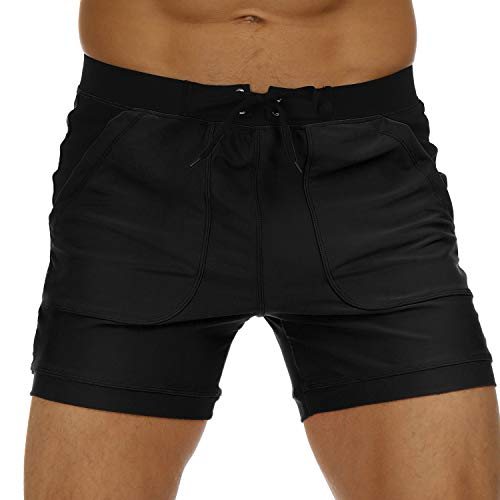 (SALENT Mens Swim Trunks Beach Shorts Briefs Swimsuits with Pocket XL, 03 Black)