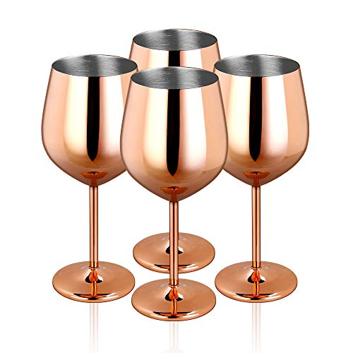 - JOEVER Stainless Steel Stemmed Red Wine Glasses 18oz Shatter Proof Copper Coated Wine Goblets (Set of 4)