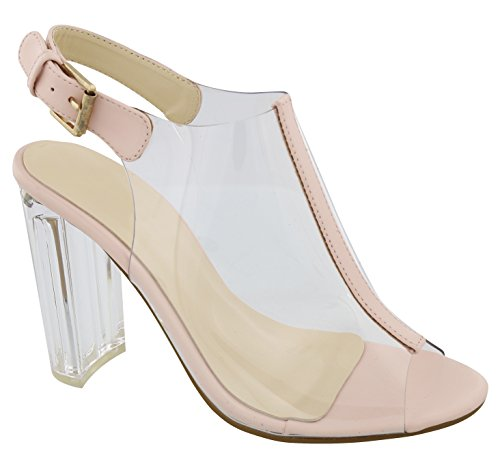 Best Lightweight Comfy Strappy Slingback Lucite Platform Heel Sandal Shoe for Women Teen Girls (Blush Size 7)