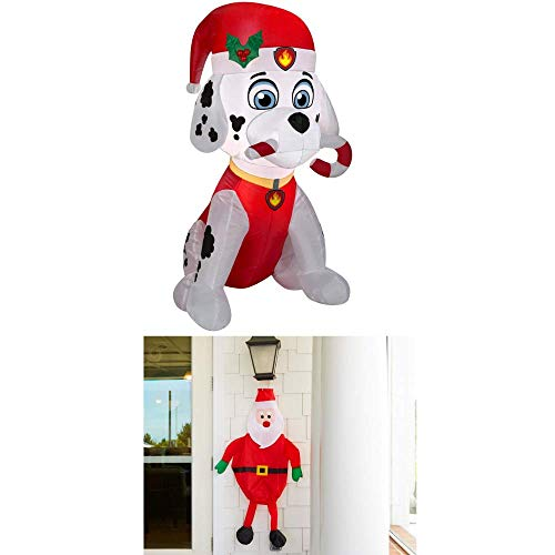 Air Inflatable Medic (EJloveshopping Holiday 3 ft. H x 1.64 ft. W Inflatable Marshall The Fire Pup with Candy Cane with Bonus Outdoor Santa Decor (Red))