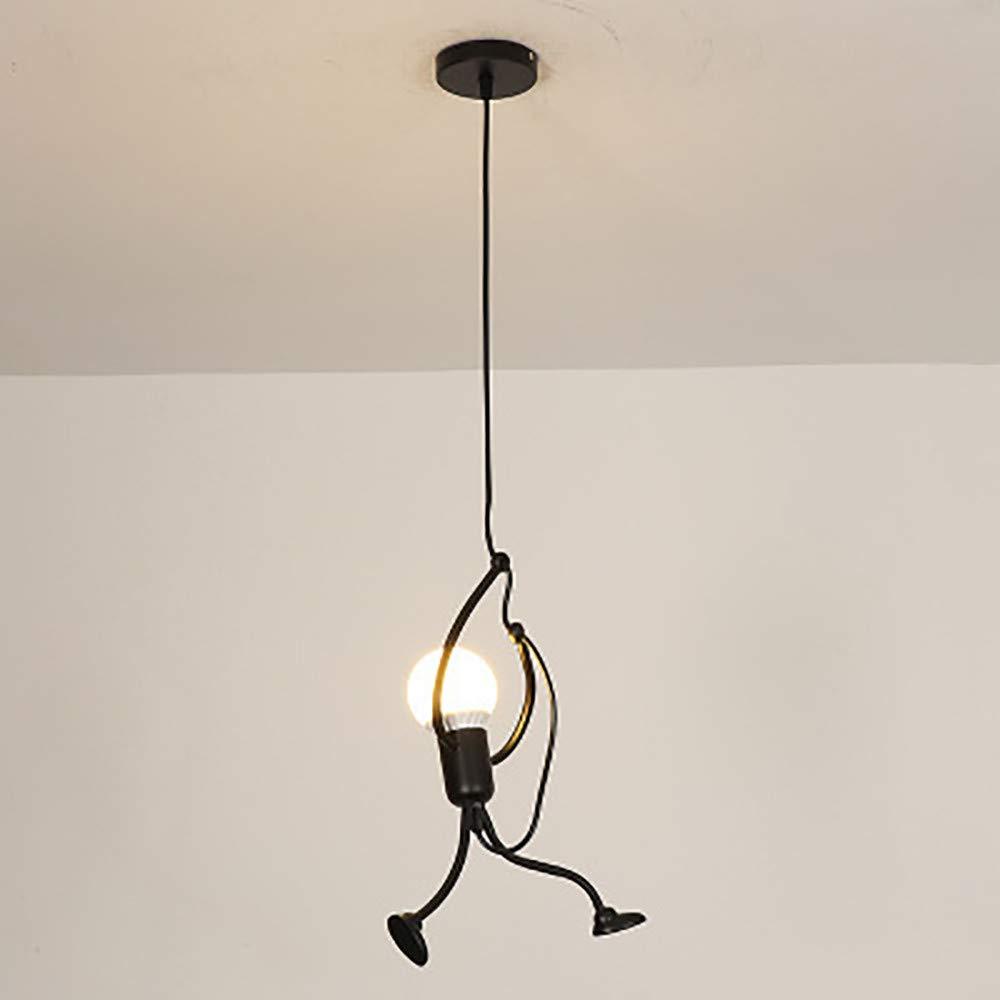 ????SUNBIBE???? Pendant Lighting Modern Creative Mini People Adjustable Hanging Lights for Bedroom Decor Iron Cartoon Doll Chandeliers for Dining Rooms E27 Black Paint Finish Lamp Elegant Hanger (Black)